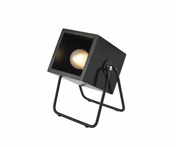 Lampa stołowa Hefty rubber wood black square by Leitmotiv