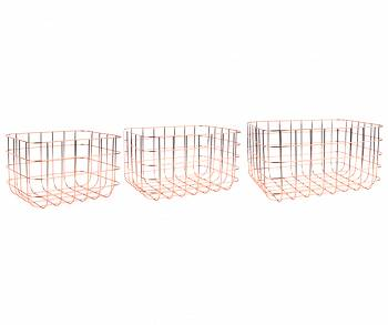 Zestaw koszy Grid iron copper Set of 3 by pt,
