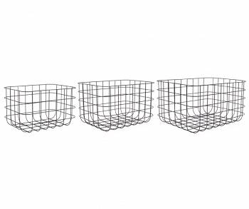 Zestaw koszy Grid iron black Set of 3 by pt,