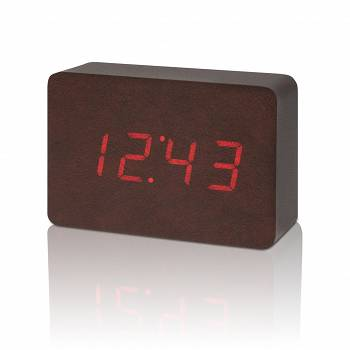 Zegar stołowy, budzik Brick Leatherette Click Clock / Red LED by Gingko